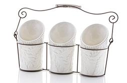 Kitchen Utensil Holders  - 3 Ceramic Utensil Crocks  & 1 Met