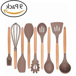 Kitchen Utensil Set Silicone 9 Pcs Nonstick Heat Resistant D