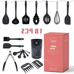 Kitchen Utensil Set With Holder 18 Pcs - Silicone Cooking Ki