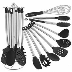 Kitchen Utensil Set With Holder - 8 Piece Silicone, Non-Stic