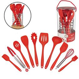 Silicone Kitchen Cooking Utensils w Bamboo Holder- 10 Pc Gou