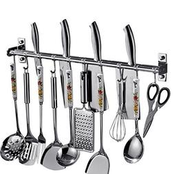 Kitchen Wall mounted pot rack Organizer with Hooks and Knife