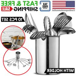 Kitchen Utensil Set with Holder Stainless Steel for Non-Stic