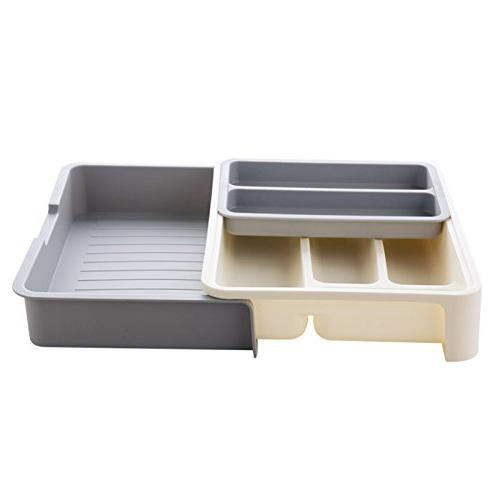 HornTide Drawer Expandable Cutlery Receive and - Gray