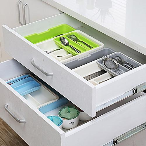 HornTide Drawer Tray Expandable Organizer Plastic Holder Cutlery Receive and More - Gray