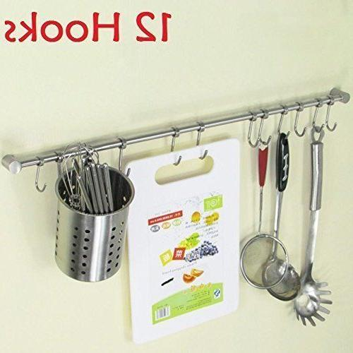 12 Hooks Kitchen Bathroom Hanging Rod Wall Mounted Utensil O