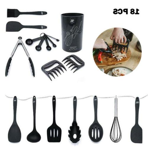 18 pcs kitchen silicone utensil holder set