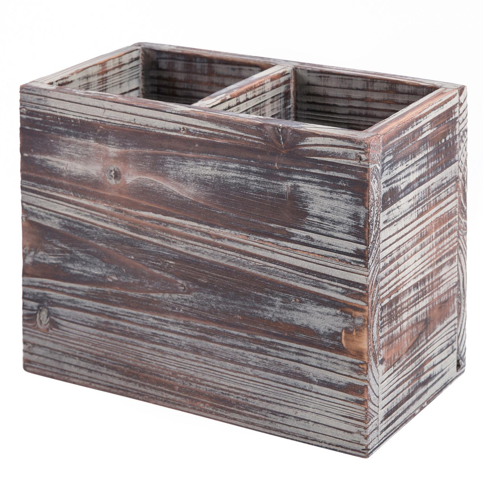 2 Compartment Torched Wood Kitchen Organizer