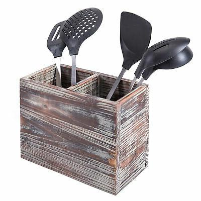 2 compartment torched wood kitchen cooking utensil