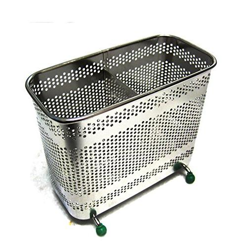2 Divided Square Stainless Steel Perforated Cutlery Holder Free Standing Silver