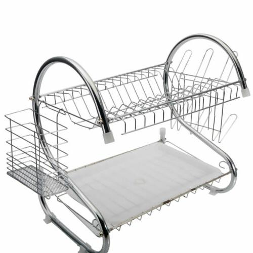 2 Tier Dish Drying Rack with Utensil Holder Cup Holder and D