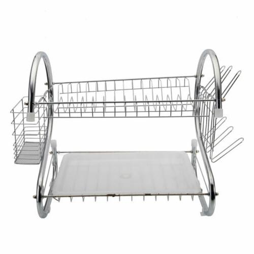 2 Tier Rack with Cup Holder Drainer Silver
