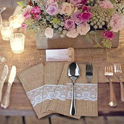 OurWarm 50 4 x Inch Natural Burlap Forks