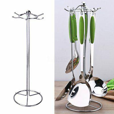 6 Stainless Kitchen Utensil Organizer Rack Stand