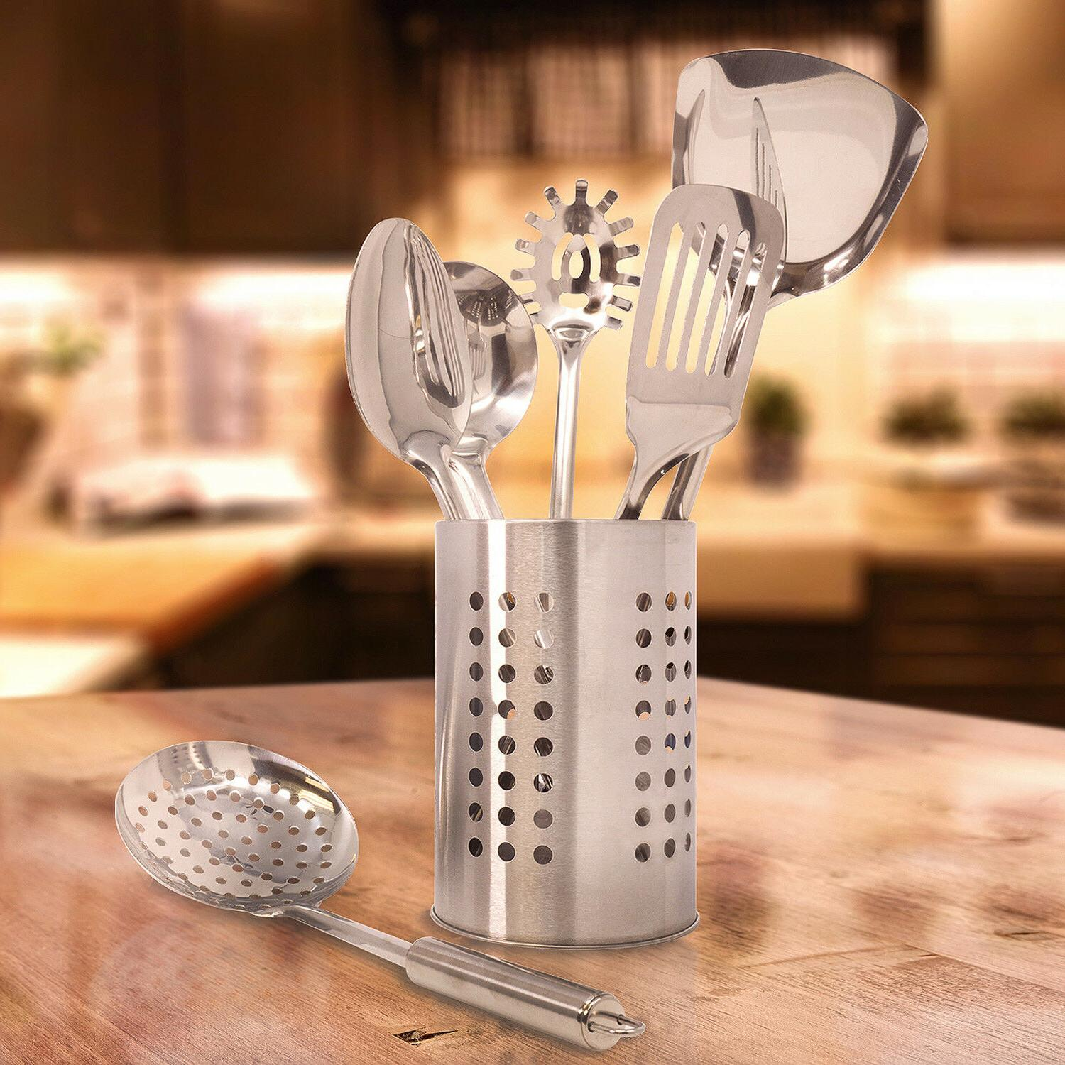 Sorbus 7-Piece Kitchen Utensil Set Holder Caddy Stainless Steel Cooking Tool Set