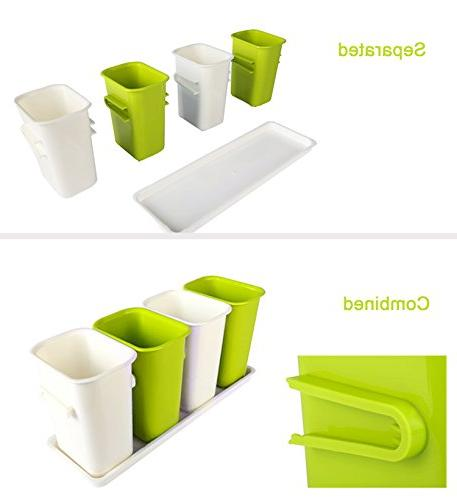 Honla Interlocking Plastic Caddy Organizer Kitchen Countertop/Dining Drainer,Lime and Cream
