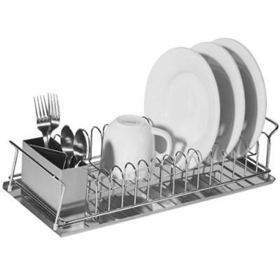 Oggi 3-Piece Dish Drain Set with Stainless Steel Utensil Caddy /& Drip Tray.