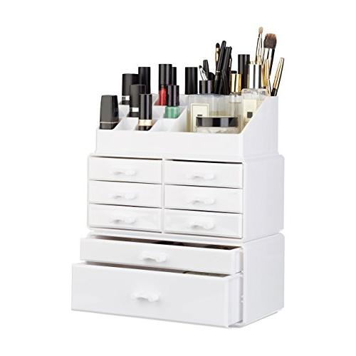 Relaxdays Makeup Organizer with Drawers, Stacking Makeup and