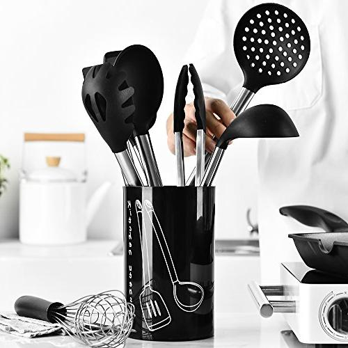 Tatufy 9 Cooking Silicone & Spatula and Set Holder, Kitchen Tools