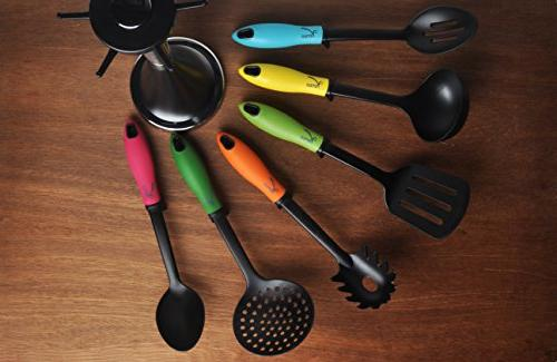 Veran Piece Utensils Set Carousel Holder - Resistant Kitchen - Silicone Cook Tools soup spaghetti server