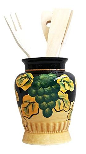 "Winter Fruit Kitchen Utensil Holder Tuscany Black Decor14""H,"