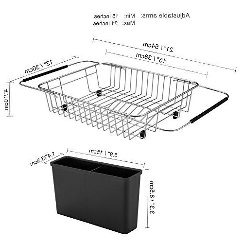iPEGTOP Rack, the Sink, In On Counter Dish Drainer Black Removable Utensil Rustproof Stainless Steel