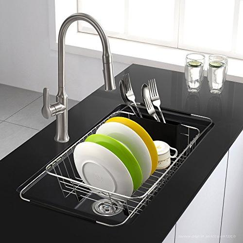 iPEGTOP Dish Rack, the Sink, In Counter Dish Drainer with Black Removable Utensil Rustproof Stainless