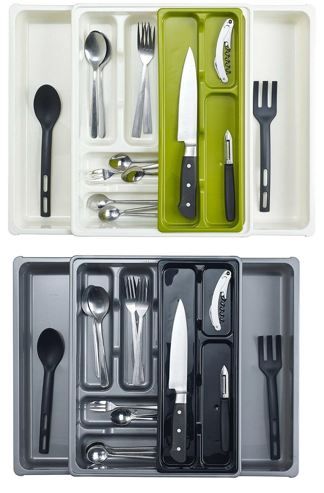 adjustable expanding plastic drawer cutlery utensil tray