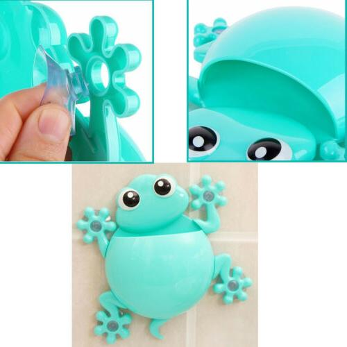 animals frog silicone toothbrush holder family set