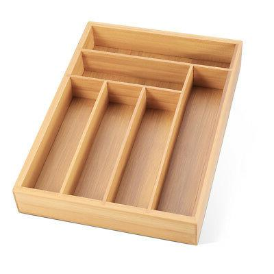 Kitchen Bamboo Cutlery Tray Utensil Flatware Storage Drawer