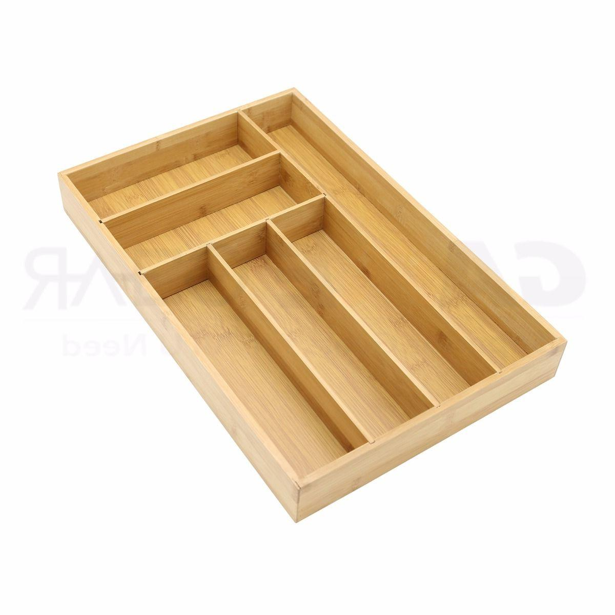 bamboo cutlery tray utensil drawer organizer flatware