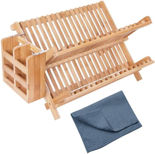 Sharpnetic Bamboo Dish Rack with Utensil Holder and Dish Dry