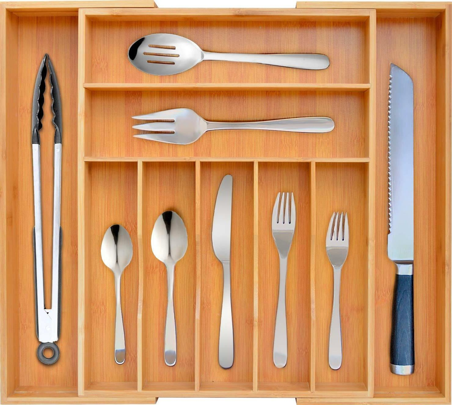 Bamboo Drawer Expandable Silverware Holder