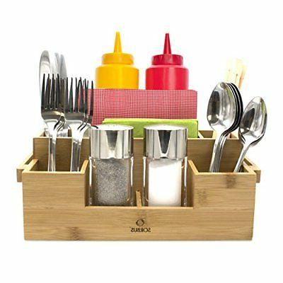 Sorbus Bamboo Utensil Caddy , Silver Napkin Holder and Condi
