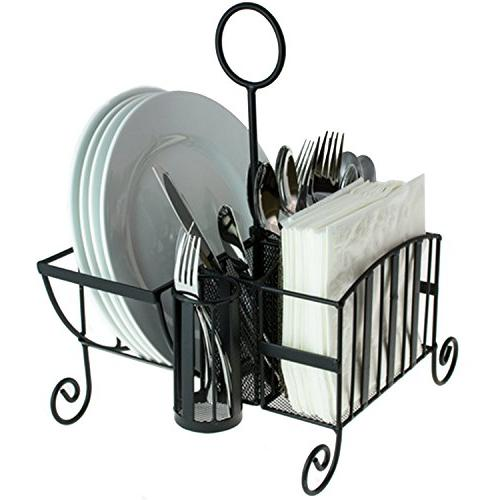 Buffet Caddy for Utensil, Plates, Napkins Handle