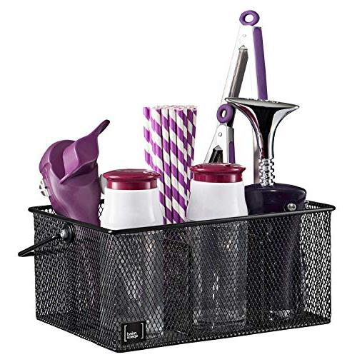 Black Utensil Holder Mindspace, Kitchen and Flatware Caddy | The Mesh Collection, Black…