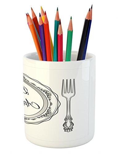Lunarable Pen and Curlicues and Ceramic Pen Holder for Office Charcoal Grey