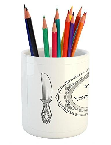 Lunarable Pen Cutlery and Utensils with Curlicues Ceramic Pencil Pen Holder for Charcoal Grey