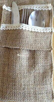burlap and lace utensils holder set of