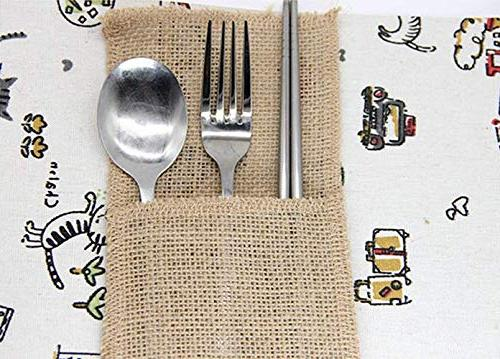 X-SPORT Burlap Utensil and Organizers Natural Knifes Bags Pouch Tableware