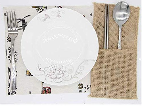 X-SPORT Burlap and Natural Knifes Cutlery Pouch Linen