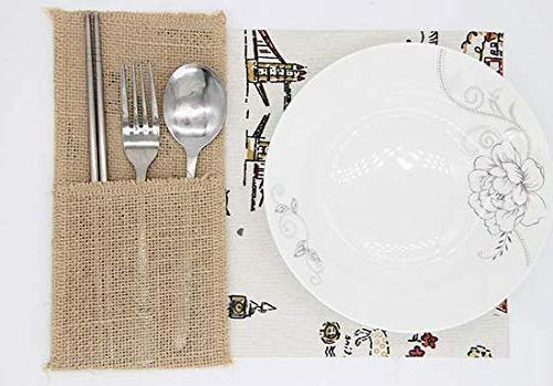 X-SPORT Burlap Utensil Holders and Knifes Forks Bags Pouch Linen