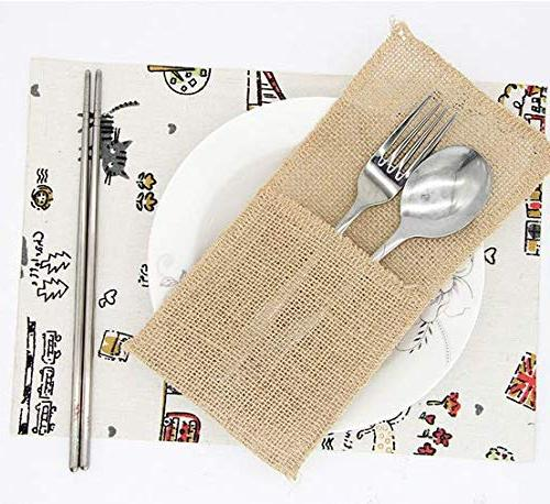 X-SPORT Burlap and Burlap Knifes Forks Pouch Bags