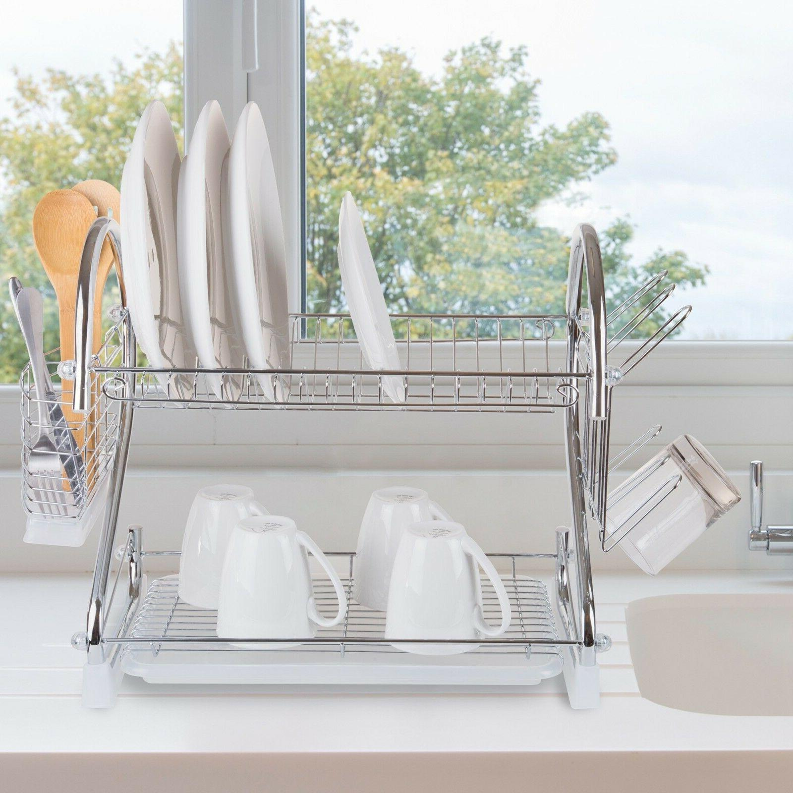Chrome Dish Drying Rack 2 Tiered with Cup and Utensil Holders by Chef Buddy