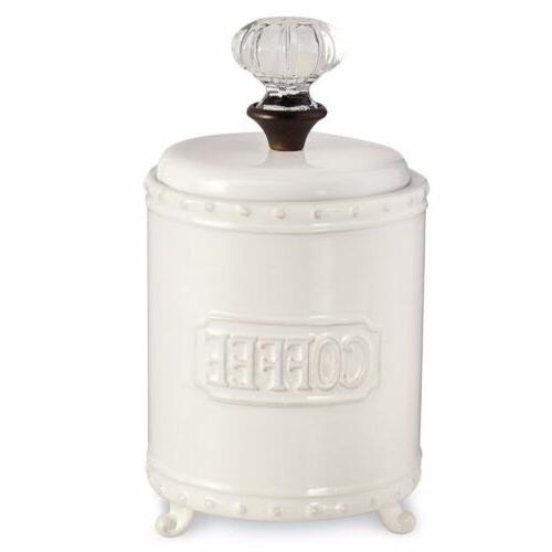 Mud Pie Circa Brunch Collection Coffee Canister Glass Knob L