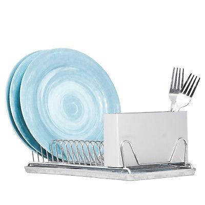 Compact Chrome Dish Utensil / Tray