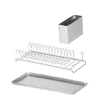 Compact Chrome Rack With Stainless Steel Utensil Holder /