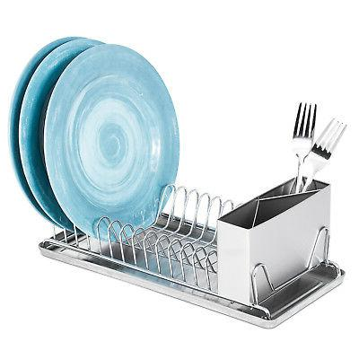 compact chrome dish drainer rack with stainless