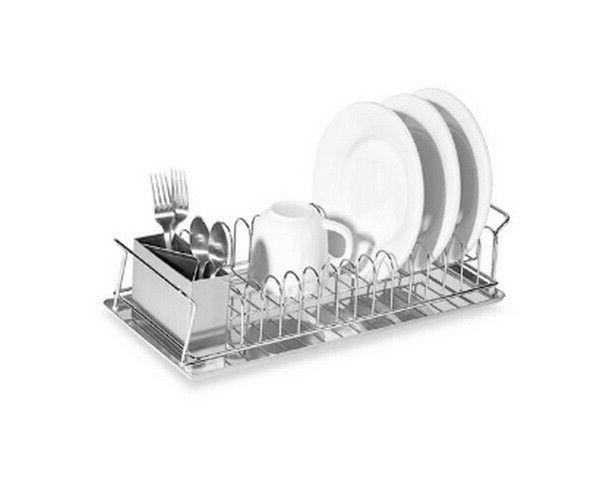 compact 3 piece dish rack and cutlery