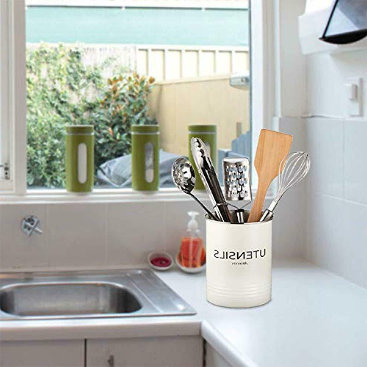 Cute Utensil Holder-Farmhouse Kitchen Crock-Large
